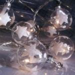 Гирлянда 2,7м теплобелая Шары стекло Юпитер прозрачные серебристые кабель прозрачный 1,5м 10 ламп indoor